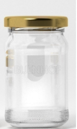 Ronde glazen pot toc48 (106ml - 125gr) +deksel